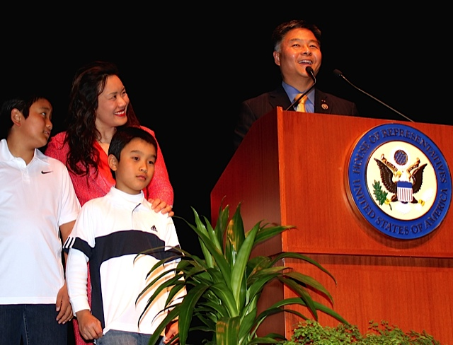 Democratic Congressman Ted Lieu, wife Betty and two sons will represent CA's 33rd District that Congressman Waxman served from 1975 - 2015.