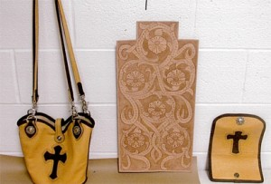 Leatherwork made in prison by Andy Cox, serving LIFE for Pot.