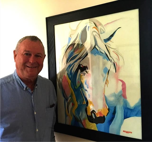 Dana Rohrabacher Representative (R-CA 48th District) since 1989 poses with Michael Pelletier's portrait of Clemency at the home of Amy Povah