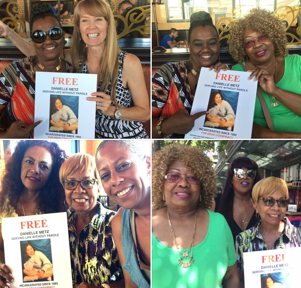 Cheryl Ward, Gabrielle Bowden, Mary Ritcherson, Pat Williams, Laina Young and Nikki celebrate Danielle Metz's clemency