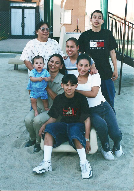 Back row: Marletta (LaVonne's mom), Priscilla (LaVonne's daughter), Daniel (LaVonne's brother). Middle row: Kylee (granddaughter), LaVonne; Clarissa (daughter) Front: Edward (youngest son)
