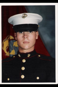 Chris Williams, in prison for pot, as a young marine.